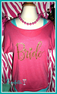NEW size S bride tshirt pink and gold bride tshirt slouchy dolman sparkle bride