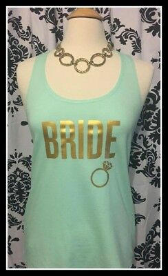 NEW size M misses mint gold bride tank top bachelorette tank top bride to b ring