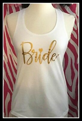 NEW size S misses fit white gold bride tank top bachelorette tank top bride to b