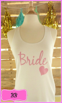 NEW size M misses white pink bride tank top bachelorette tank top bride to be