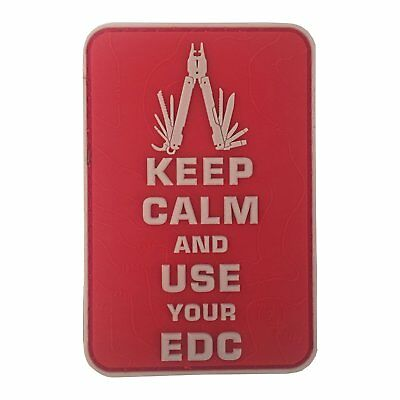 Keep Calm Use Your Edc Multitool Topo 3D Rubber Patch Red