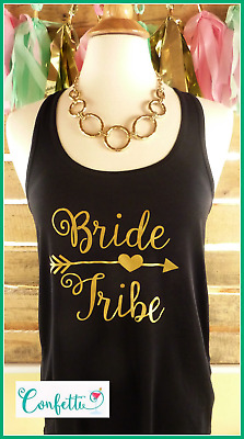 NEW size L misses bride tribe tank top flowy black and gold bride tribe tank top