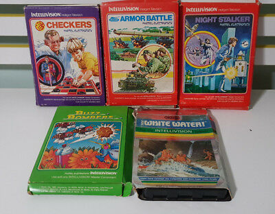 Intellivision Games Night Stalker Checkers Armor Battle White Water!