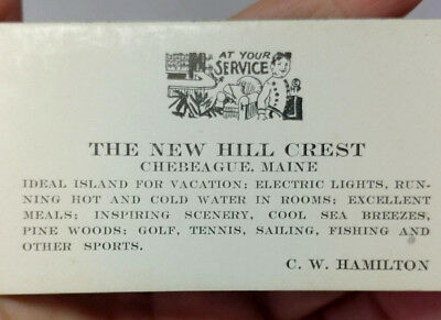 Vintage THE NEW HILL CREST Hotel Resort CHEBEAGUE MAINE 1930 Ink Blotter Advert