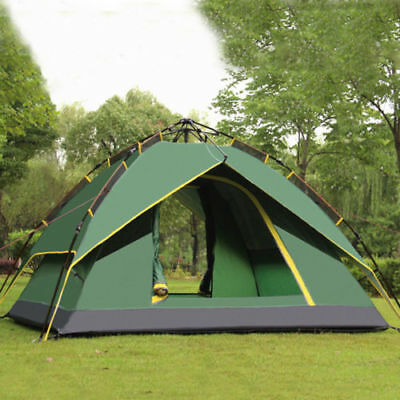 3-4Person Waterproof Auto Outdoor Double layer Camping Hiking Beach Family Tent