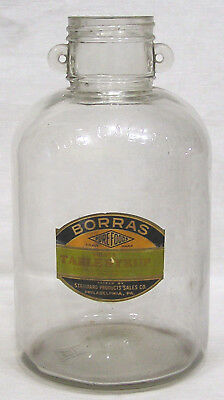 Vintage Advertising Table Syrup One Gallon Hndld Glass Jar Borras Pure Foods