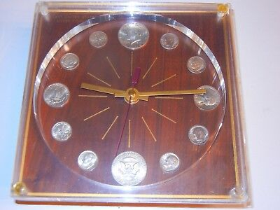 1964 U.s. Silver Coin Clock - Wood And Plastic - Clock Works - Nice Coins