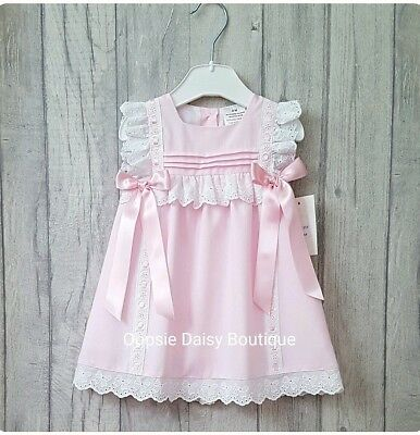 Girls Pink Spanish Double Ribbon Bow Dress upto 24mths ☆