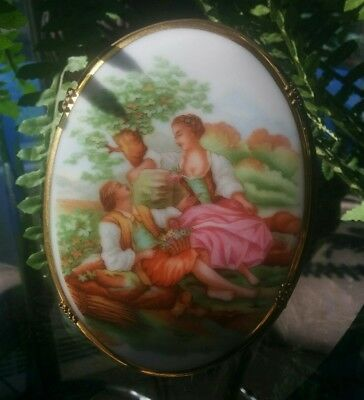 French limoges handpainted porcelain plaque with stand, France