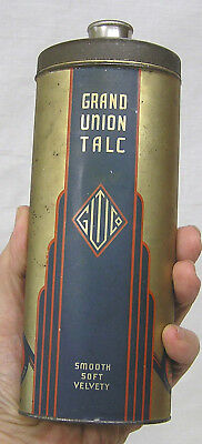 Vintage Grand Union Art Deco Talcum Powder Tin One Pound 1930s