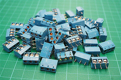 20PCS KF-301 3Pin Plug-in Screw Terminal Connector 5.08MM Pitch Panel PCB Mount