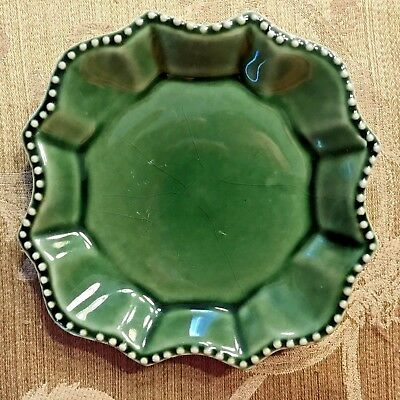 "California Pantry Green 6.25""  Pillar Candle Plate Tray Ceramic"