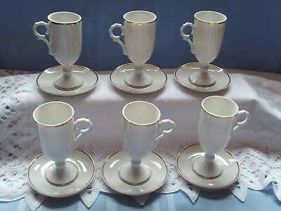 Demitasse Pedestal Cup and Saucer Espresso /Tea Set of 6  *New IN Box* Gold Trim