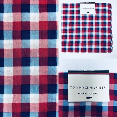 NEW Tommy Hilfiger Pocket Square Silk Cotton Gingham Red White Blue $35 Retail