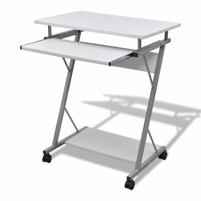 Computer Desk Pull Out Tray White Furniture Office Student Table#