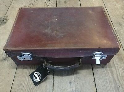 Antique vintage suitcase travel case luggage brown leather small suitcase GE45