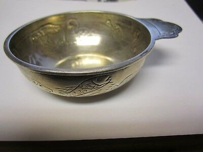 SANBORNS  Mexico Sterling Silver Porringer -INCISED ANIMAL CARVINGS-EARLY- RARE?