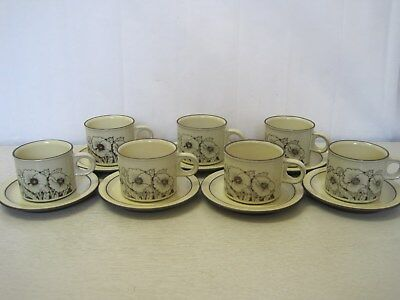 Collection of 7 x Hornsea 'Cornrose' Tea Cups and Saucers - Made in Ironstone