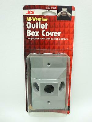 "NEW Ace 31659 Grey Single Gang Three Holes 1/2"" All Weather Outlet Box Cover"