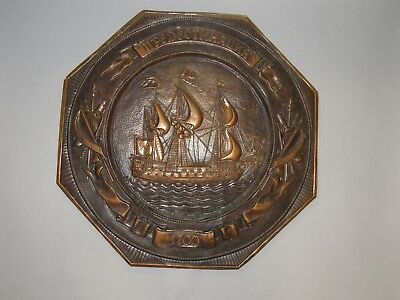 Vintage Russian Hammered Embossed Repousse Copper Wall Plaque Sailing Ship