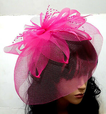 Hot Pink Mesh Flower Derby Wedding Cocktail Headband Fascinator Feather