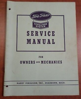 Vintage Ford Tractor Ferguson System Service Manual for Owners & Mechanics 1943
