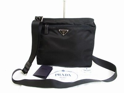 70ea31953669 AUTHENTIC PRADA NYLON Black Crossbody Bag Purse Mint Condition  6543 ...