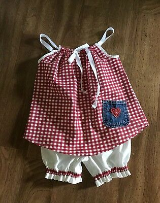 Girls Two Piece Outfit. Red Gingham  3-4T