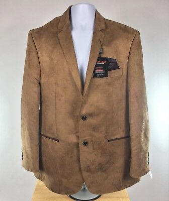 Linea Uomo Sport Coat Jacket Size 44R Mens Camel Elbow Patches Micro Suede NEW