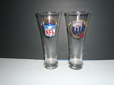 Pair of NFL Miller Lite 8 1/2 Inch Tall Pilsner Beer Glasses
