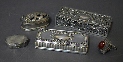 Very Interesting Group Of Five Antique And Vintage Solid Silver Pill Snuff Boxes