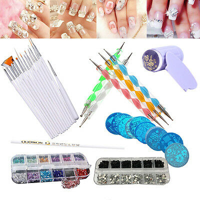 30PCS Nail Art Design Dotting Painting Crystals Polish Brush Pen Tape Tool Set.O