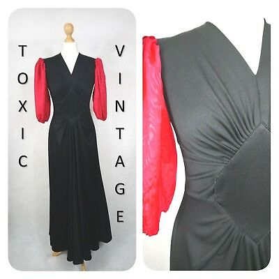 VINTAGE 1970's BLACK & RED RUCHED BODY MAXI DRESS UK SIZE 10-12 DISCO RETRO CHIC