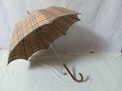 Vintage Burberry's David Gage Tartan Umbrella With Horse Embroidery And Tassel