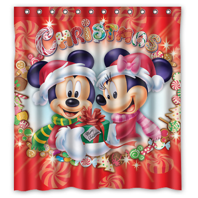 Mickey Mouse Minnie Mouse Merry Christmas Bathroom Shower Curtain 66 x 72 inch