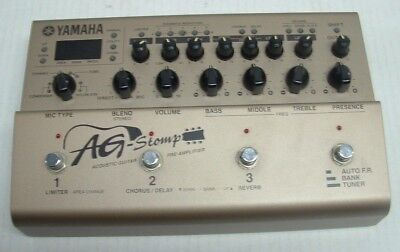YAMAHA AG-STOMP ACOUSTIC Guitar Electric Pre-Amplifier Pedal W/Instructions