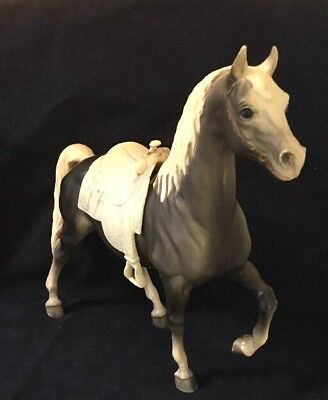 Vintage 50's-60's Breyer Western Horse Champ Toy Grey with saddle.