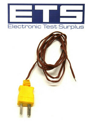 "Type K Yellow Mini Thermocouple Plug w/ 36"" Wire Lead"