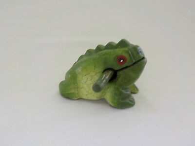 Painted Green Wood Frog with Stick Music Percussion Figurine Toad