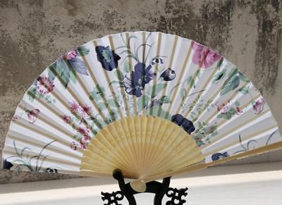 Vintage Chinese Style Hand Held Fan Bamboo Butterfly Flowers Folding Fan Decor p