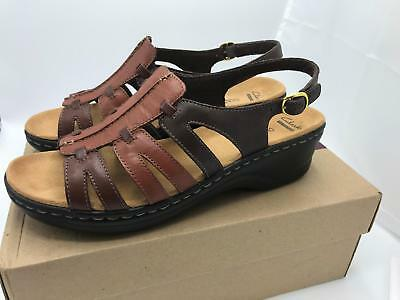 fbe05ed83efa Clarks Leather Lightweight Sandals-Lexi Marigold (1591) Brown Multi Size 11W