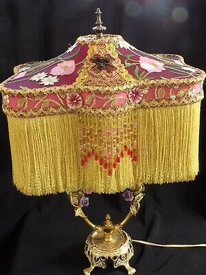 Victorian Lamp Shade Silk Floral Beaded Fringe Lampshade Katie