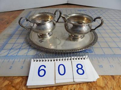 #608 - Vintage Fisher Sterling Silver Sugar And Creamer Bowls Plus Tray