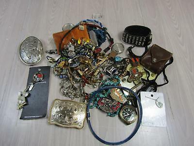 Mens Costume Jewelry & Accessories Lot Live to Ride Pins Belt Buckles AS IS