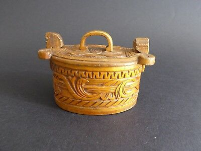 Gorgeous Antique Norwegian carved wood and bentwood small tine or tina box