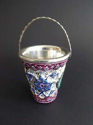 Antique Persian Islamic silver enamel pot with handle