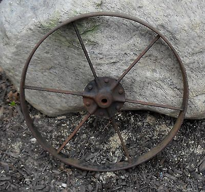 Antique Cast Iron Metal Wheelbarrow Wheel Garden Decor Industrial Steampunk