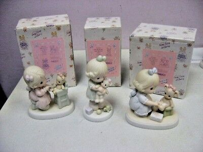 3 Piece Lot Precious Moments Loving,caring,sharing With Original Boxes+Cards