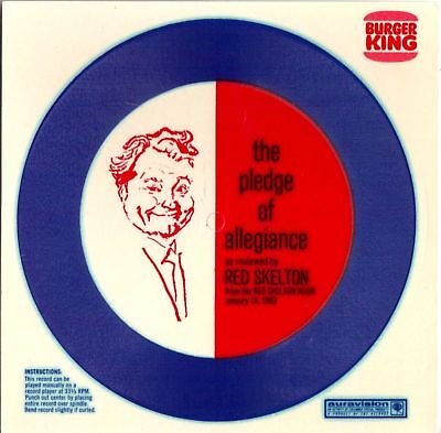 1969 Burger King The Pledge of Allegiance by Red Skelton Cardboard Record UNUSED