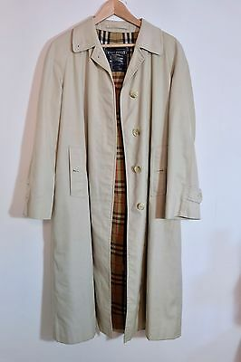 Vintage Burberry Long Coat Mac Med 12 40 Authentic Liberty London Beige Cream
